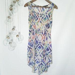 Forever 21 High Low Dress Sheer Colorful Print Med
